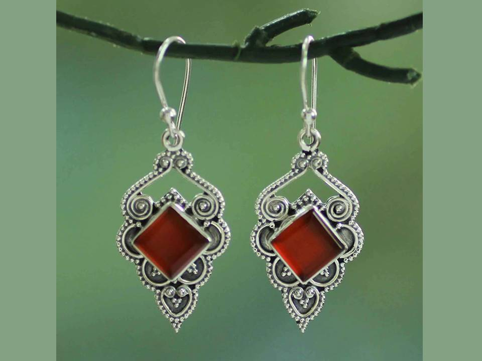 Red Crystal and Silver Filigree Dangle Earrings - Lunga Vita Designs