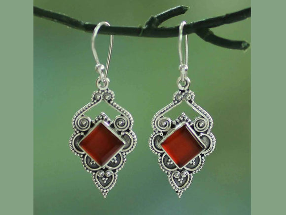 RED FILIGREE DANGLE EARRINGS