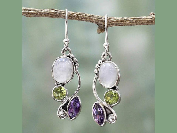 MOONSTONE DANGLES WITH AMETHYST AND PERIDOT