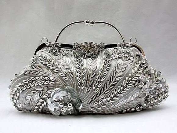 BEADED AND SEQUINED SILVER CLUTCH