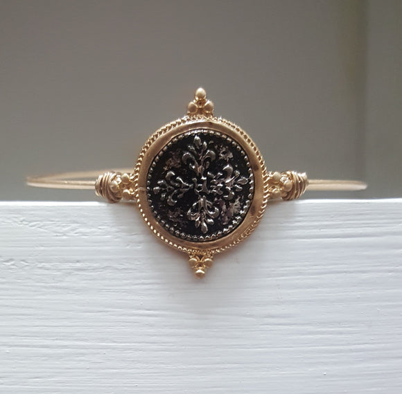 ANTIQUE  COIN BANGLE | WORN GOLD