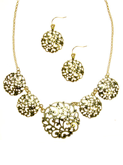 Worn Gold Filigree Circle Necklace Set with Matching Dangle Earrings - Lunga Vita Designs
