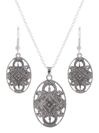 ANTIQUED SILVER OVAL FILIGREE NECKLACE SET