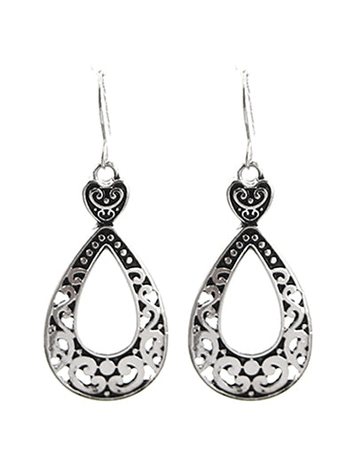 Open Teardrop Silver Dangle Earrings - Lunga Vita Designs