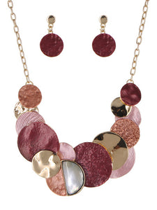 MULTICOLORED DISK NECKLACE SET | RED - GOLD