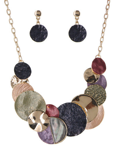 Multicolored Disk Statement Necklace Set | Gold-Multicolor - Lunga Vita Designs