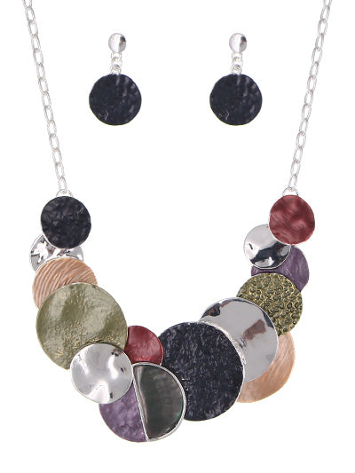 Multicolored Disk Statement Necklace Set Silver multicolor - Lunga Vita Designs