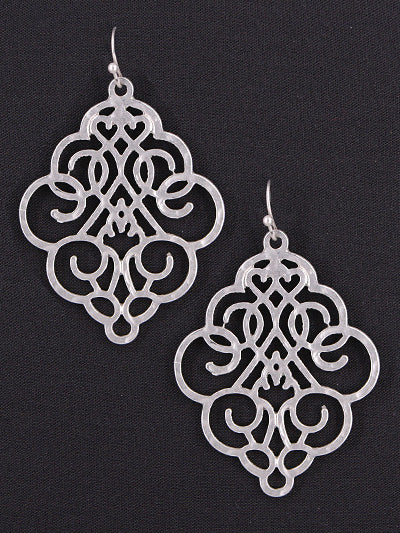 Lacy Cut-Out Matte Silver Diamond Shaped Dangle Earrings - Lunga Vita Designs