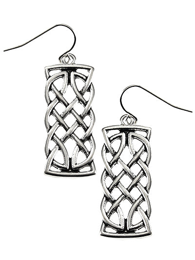 Celtic Rectangular Bar Earrings - Lunga Vita Designs