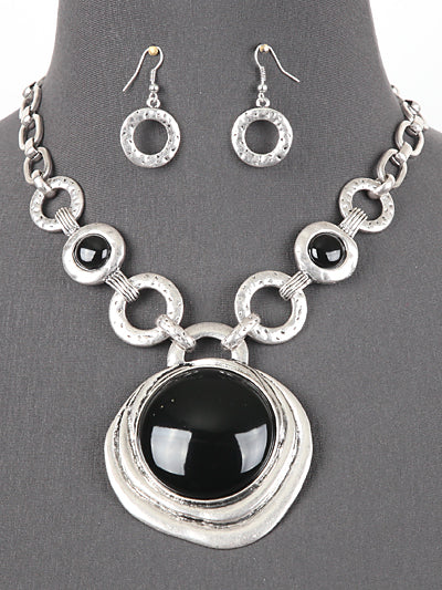 Black Resin Centerpiece Statement Necklace with Worn Silverlink Chain and Matching Earrings Set - Lunga Vita Designs