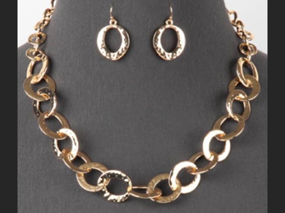 Flat Large Link Necklace and Earrings Set  | Gold - Lunga Vita Designs
