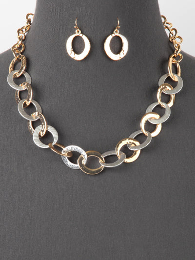 Flat Large Link Necklace and Earrings Set  | Gold & Silver - Lunga Vita Designs