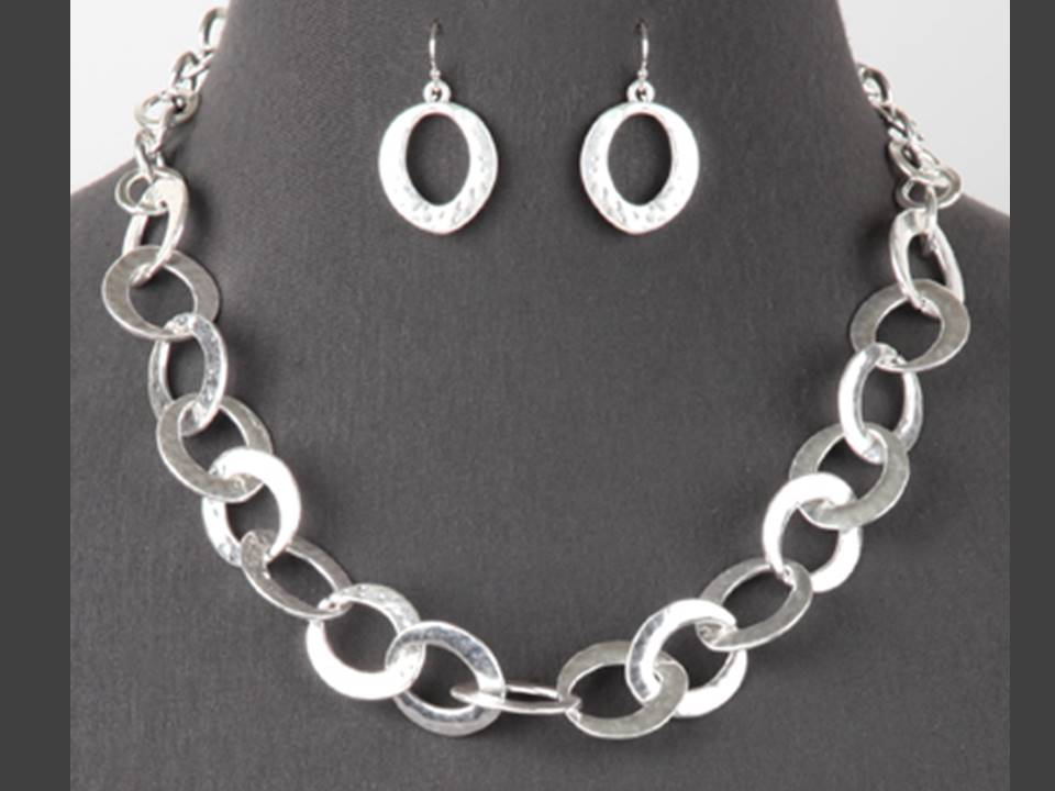 Flat Large Link Necklace and Earrings Set  | Silver - Lunga Vita Designs