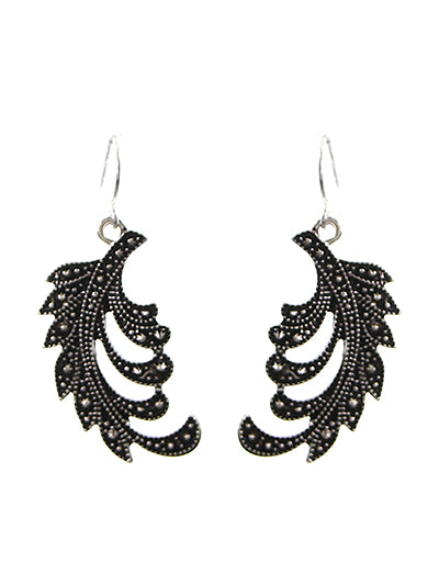 CURLED MARCASITE DANGLE EARRINGS