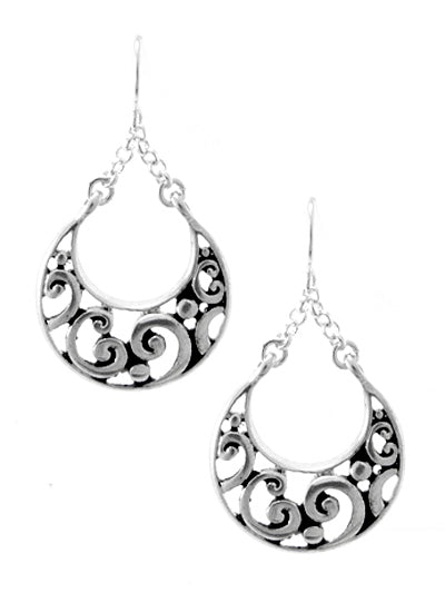Silver Chain Dangling Crescent Earrings - Lunga Vita Designs