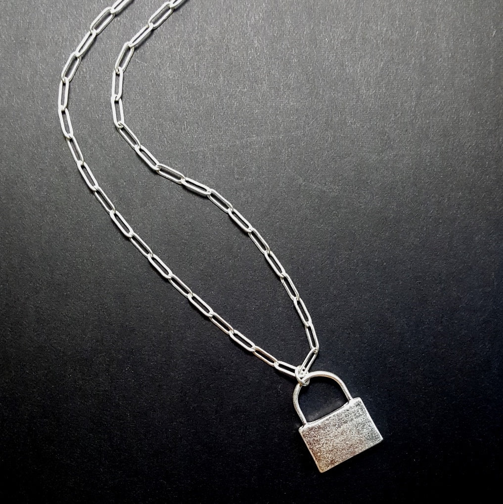 Long Link Lock Necklace | Worn Silver - Lunga Vita Designs