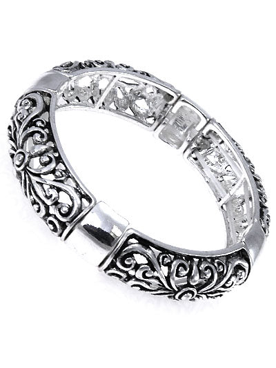 Patterned Cut-Out Silver Stretch Bracelet - Lunga Vita Designs
