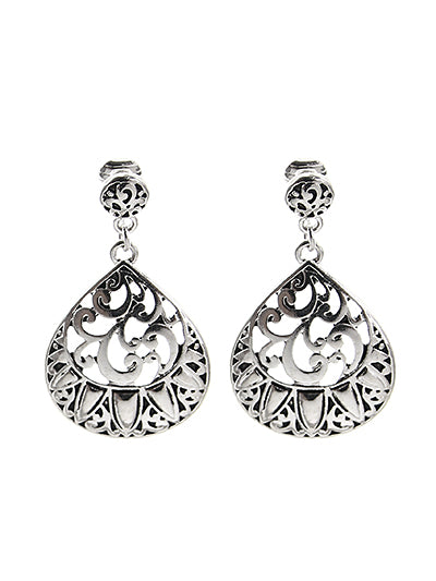 Filigree Cut-Out Silver Clip-On Earrings - Lunga Vita Designs
