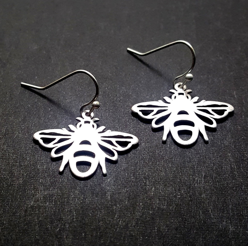 Bee Silhouette Earrings | Matte Silver - Lunga Vita Designs