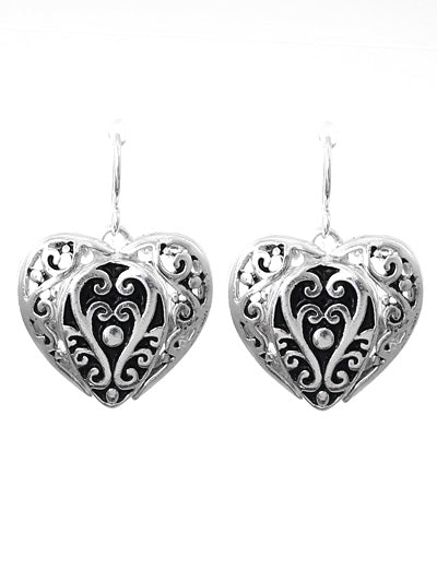 Romantic Filigree Silver Heart Dangle Earrings - Lunga Vita Designs