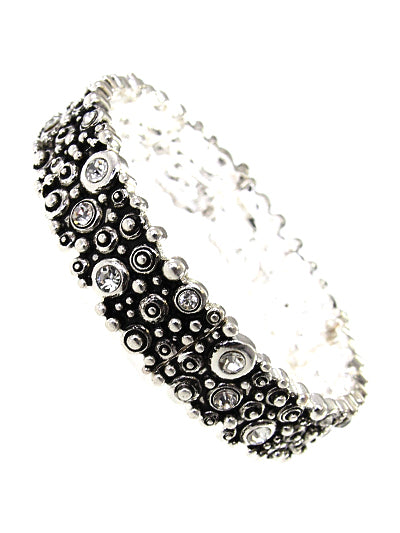 BUBBLE TEXTURED SILVER STRETCH BRACELET WITH CLEAR CRYSTALS