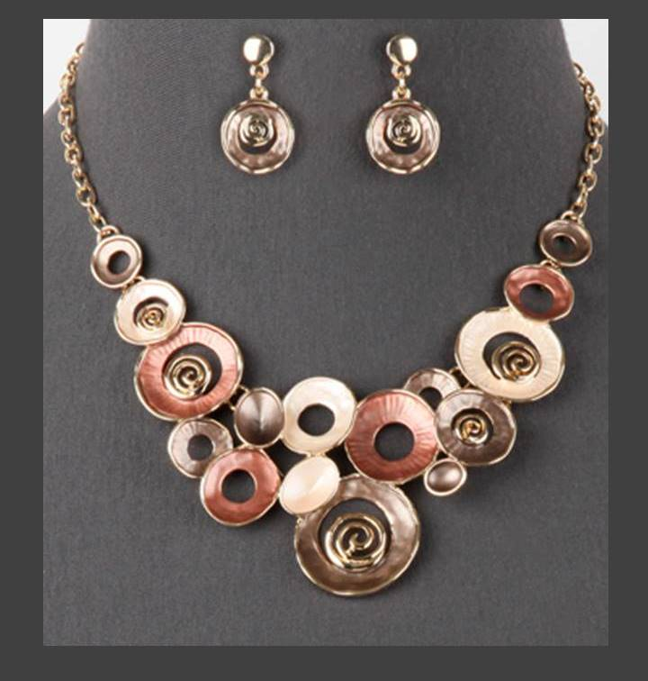 Mixed Enamel Circles Necklace and Earrings Set | Coffee - Lunga Vita Designs