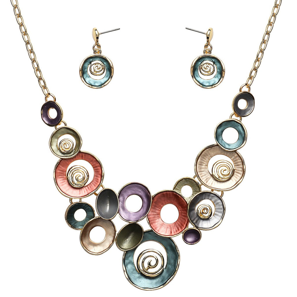 Mixed Enamel Circles Necklace and Earrings Set | Gold Multicolored - Lunga Vita Designs