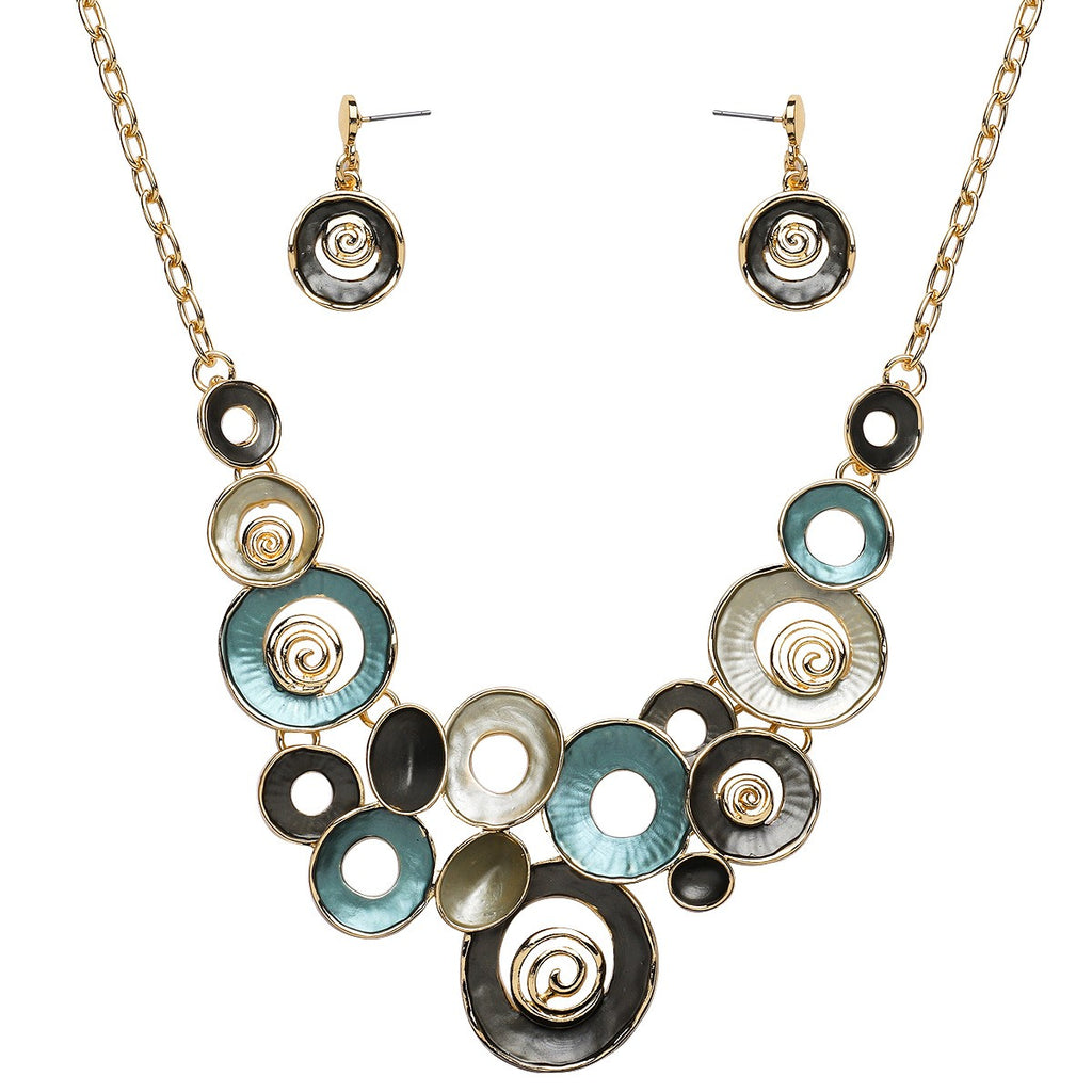 Mixed Enamel Circles Necklace and Earrings Set | Teal - Lunga Vita Designs
