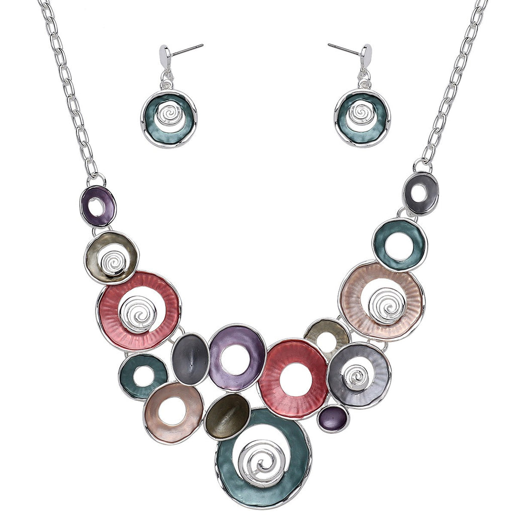 Mixed Enamel Circles Necklace and Earrings Set | Silver Multicolored - Lunga Vita Designs
