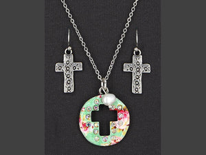 ENAMEL CROSS NECKLACE SET WITH FRESHWATER PEARL