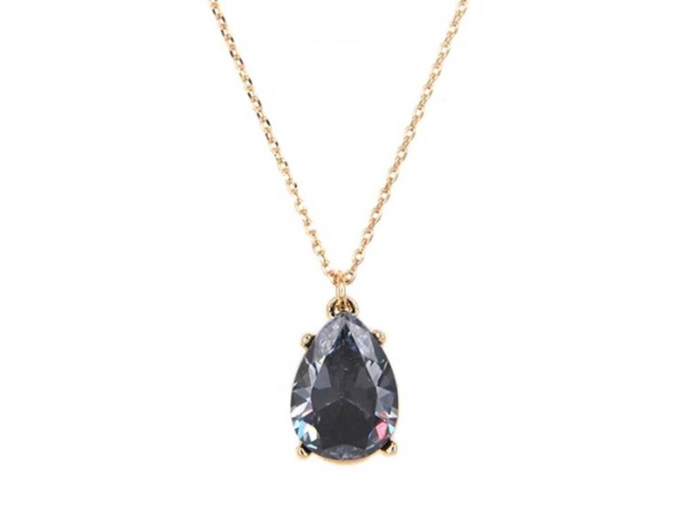 CZ Classic Teardrop Opaque Pendant Necklace | Black - Lunga Vita Designs
