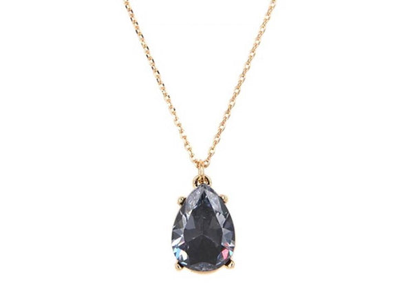 CZ TEARDROP PENDANT NECKLACE | BLACK