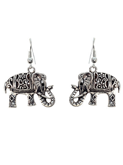 Elephant Silver Dangle Earrings - Lunga Vita Designs
