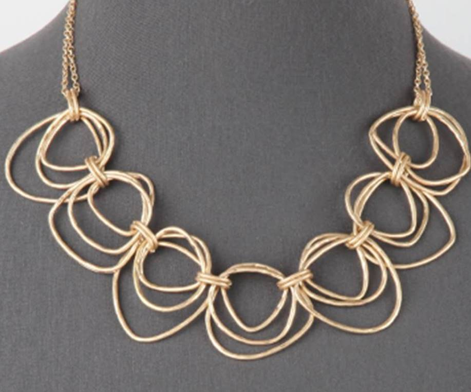 Multi Link Statement Necklace | Worn Gold - Lunga Vita Designs