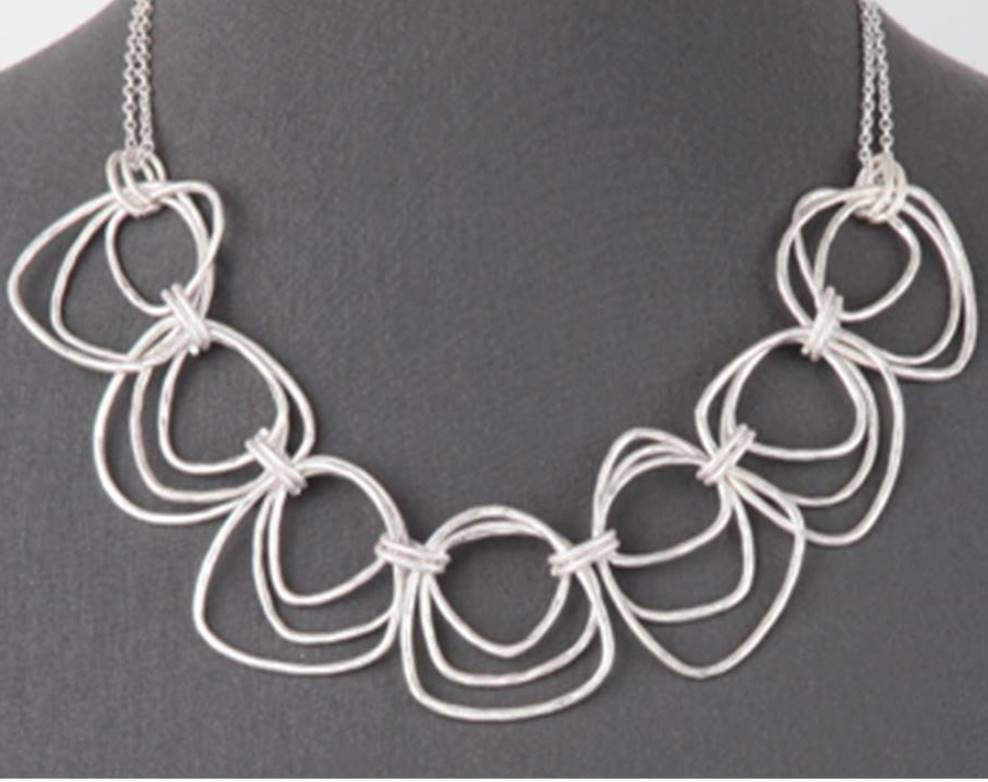 Multi Link Statement Necklace | Worn Silver - Lunga Vita Designs
