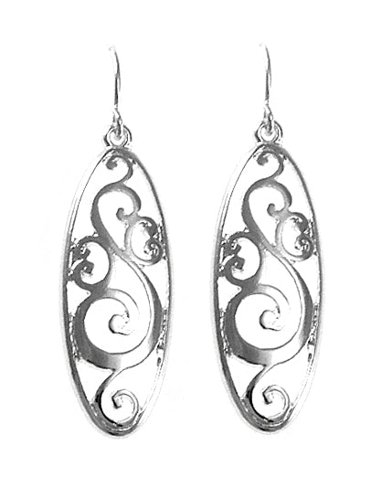Oval Cut-Out Silver Dangle Earrings - Lunga Vita Designs