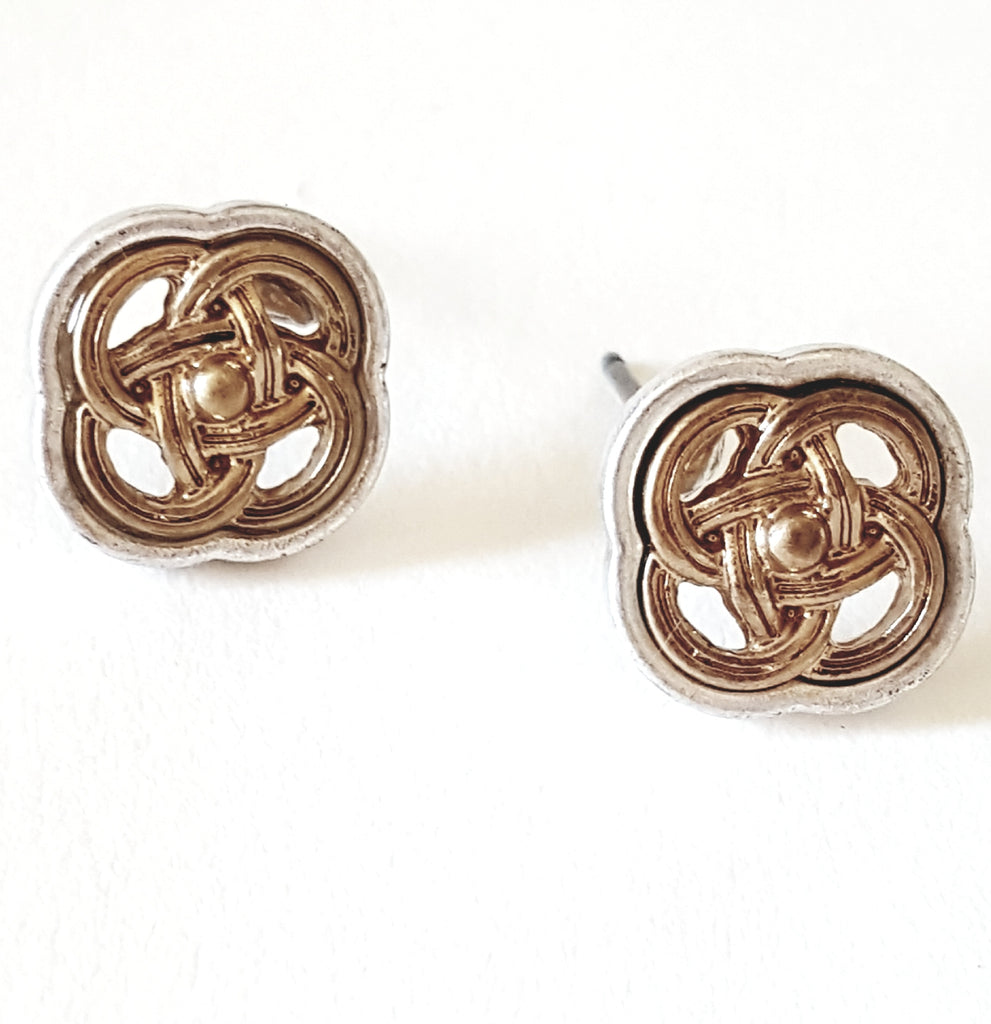 Celtic Knot Two-Tone Post Earrings - Lunga Vita Designs