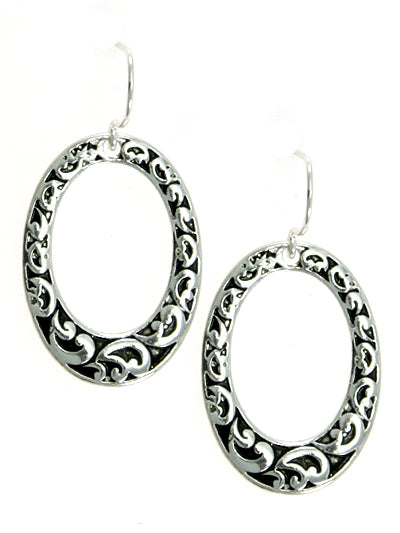 Oval Filigree Silver Dangle Earrings - Lunga Vita Designs