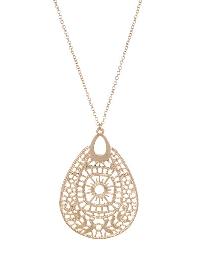LONG TEARDROP LACE PENDANT NECKLACE | GOLD