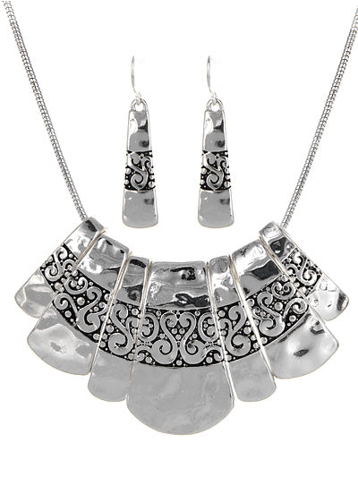 Silver Tone Textured Statement Necklace Set - Lunga Vita Designs