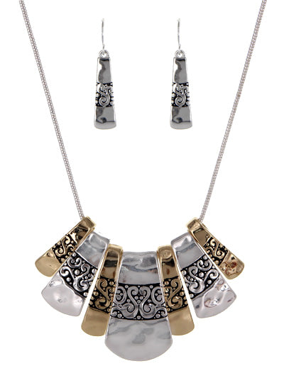 Two-Tone Textured Fan Shape Statement Necklace Set - Lunga Vita Designs