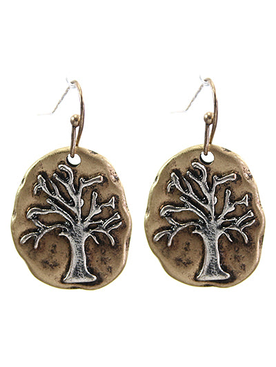 Two-Tone Tree Of Life Oval Abstract Dangle Earrings - Lunga Vita Designs
