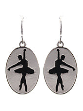 BALLERINA SILHOUETTE 0VAL DANGLE EARRINGS
