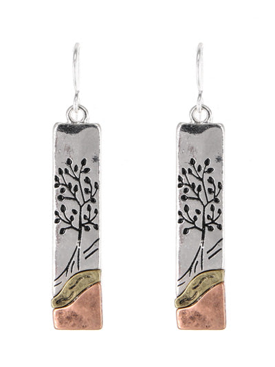 Tree of Life Mix of Gold, Copper & Silver Rectangular Dangle Earrings - Lunga Vita Designs