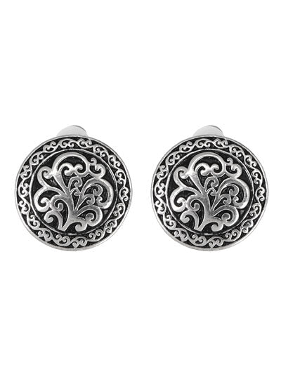 Patterned Round Silver Clip On Earrings - Lunga Vita Designs