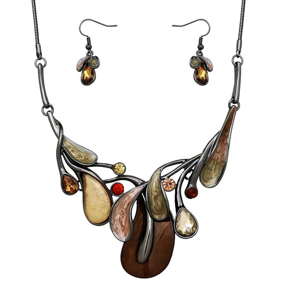 ABSTRACT LUCITE NECKLACE SET | BROWN