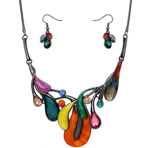 ABSTRACT LUCITE NECKLACE SET | MULTICOLORED
