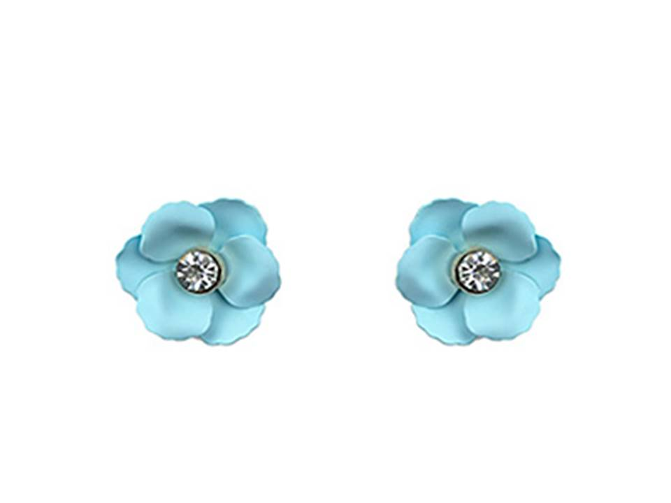 Matte Flower Post Earrings | Aqua - Lunga Vita Designs