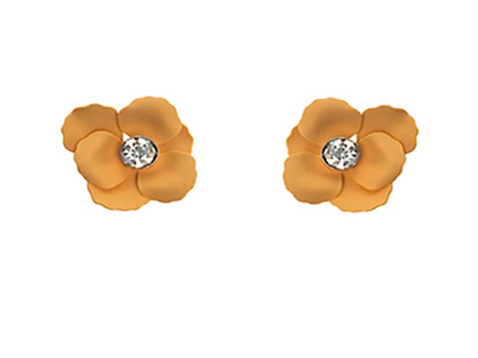 Matte Flower Post Earrings | Soft Orange - Lunga Vita Designs
