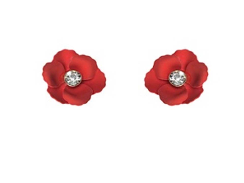 Matte Flower Post Earrings | Red - Lunga Vita Designs